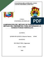 Comparacion del Método de Porchet - Método del Piezómetro