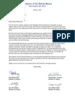 Michigan National Guard Delegation Letter - Food Concerns
