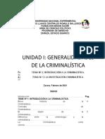 TEMA 1. INTRODUCCIÓN A LA CRIMINALÍSTICA.
