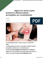 México castigará con cárcel a quien produzca o difunda material pornográfico sin consentimiento
