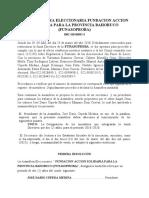 ACTA ASAMBLEA ELECCIONARIA FUNDACION ACCION SOLIDARIA PARA LA PROVINCIA BAHORUCO (FUNASOPROBA)