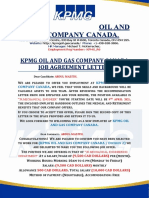 KPMG OIL AND GAS COMPANY CANADA AGREEMENT  LETTER