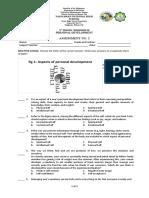 Personal Development Grade 12 - Weekly Assessment 1