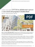 COMUNICADO_ INVÍAS no adelanta nuevo proceso de convocatoria del programa Colombia Rural
