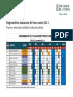 Programación evaluaciones del tronco común 2021-1
