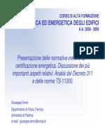 Fisica ed Energetica degli edifici - Decreto 311, UNI TS 11300 e altra normativa