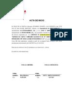 MODELO ACTA DE INCIO DE EJECUCIÓN