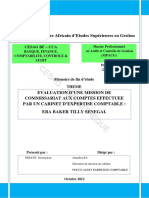 Evaluation d'Une Mission de Commissariat Aux Comptes Effectuee Par Un Cabinet d'Expertise Comptable Era Baker Tilly Senegal