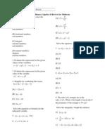 Algebra II Honors Midterm Review