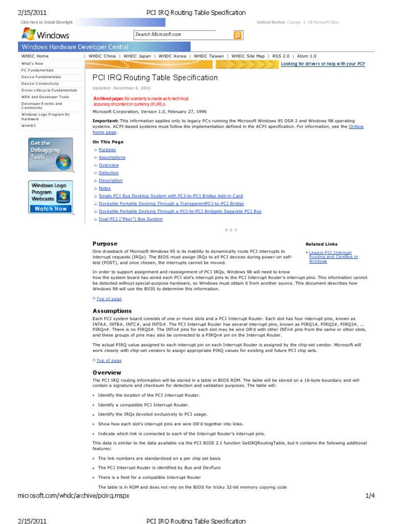 PCI IRQ Routing Table Specification | Bios | Device Driver