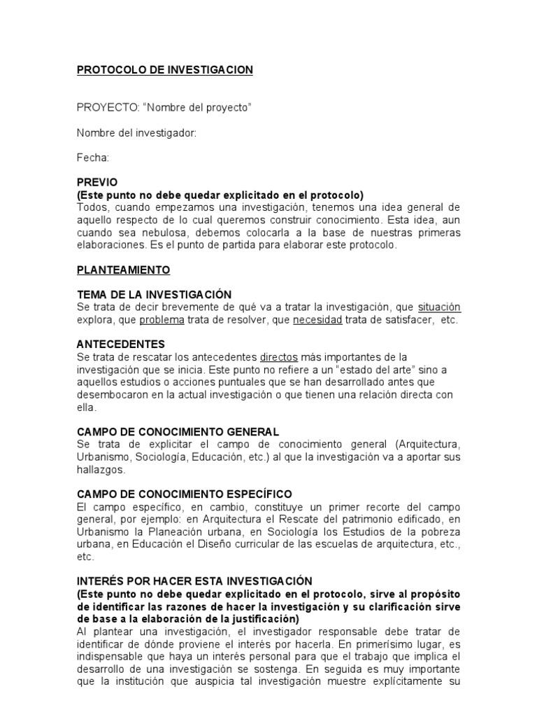 Protocolo de investigaci n formato para presentar un for Ejemplo protocolo autocontrol piscinas