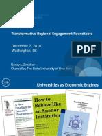 The Power of University Systems to Transform Regional Economic Development, Keynote Presentation by Nancy Zimpher, Chancellor of the State University of New York (SUNY)