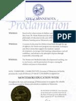 State of MN Montessori Education Week Proclamation