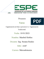 TAREA 3 organización por procesos vs organización tradicional - Robles Maribel