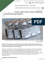 nCoV - Impfung - 2021-01-14 - Eine Stunde nach Impfung - 90-Jährige aus Weyhe stirbt nach Corona-Impfung – Zusammenhang fraglich