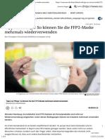 nCoV - Lösungen - FFP2 - 2021-01-13 - So können Sie die FFP2-Maske wiederverwenden