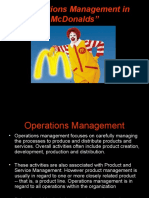 Operations Management in McDonalds