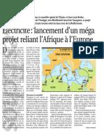 Electricité lancement d'un méga projet reliant l'Afrique à l'Europe