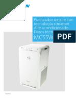 PURIFICADOR DAIKIN MC55W EEDES20 Data Books Spanish