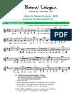 Partituras Tempo Comum 30o. Dom. Ano a 25-10-2020