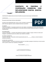 CONTRATO DE PARCERIA E COOPERAÇÃO COMERCIAL COM INFLUENCIADOR DIGITAL (DIGITAL INFLUENCER) CONTRATANTE_ XXXXXXXXXX (razão social _ nome completo), inscrita no CNPJ sob o nº (ou no CP