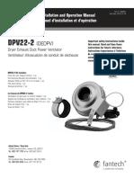 FANTECH - Ventilateur sécheuse DPV22-2 - Guide d'installation