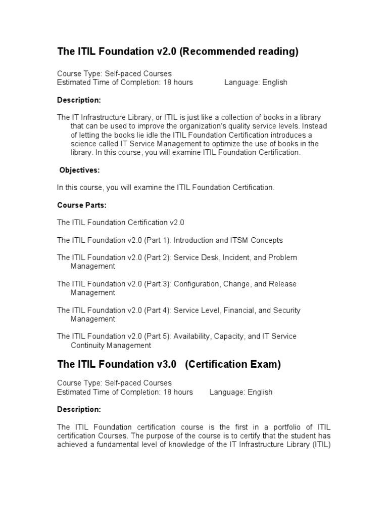 The Itil Foundation V2 And V3 Itil Software