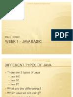 Week 1 Day 1 – Java Basic