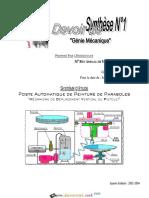 Devoir Corrigé de Synthèse N°1 - Génie mécanique Poste Automatique de Peinture de Peinture de Parabole - 3ème Technique (2013-2014) Mr Ben Abdallah Marouan