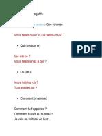 Les Mots Interrogatifs A1.1