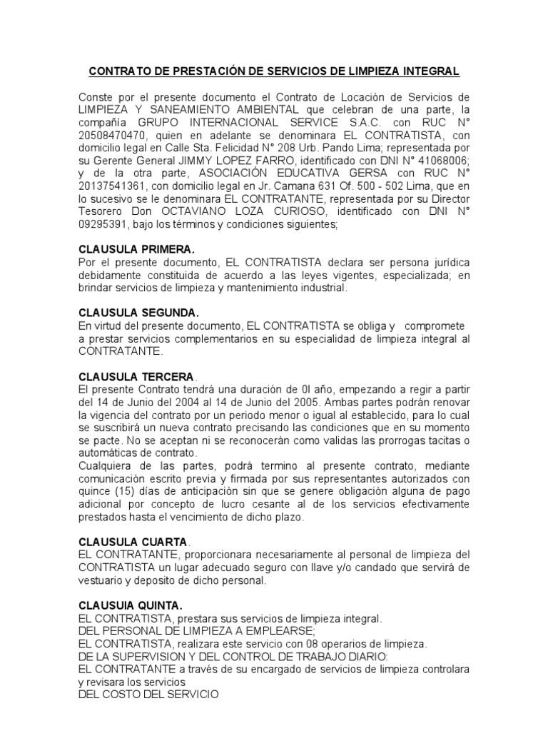 Modelo de contratos de limpieza - Trabajo por horas de limpieza ...