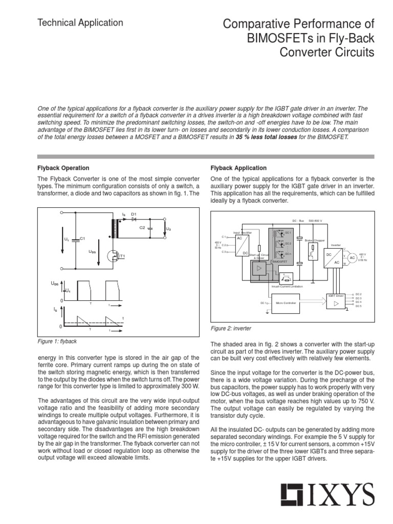 Bimosfet In Fly Back Mosfet Power Inverter Supply Circuit Regulated Votlage Micro Switching