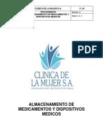 P_54 Almacenamiento de medicamentos y dispositivos médicos. Rev 00