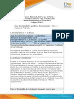Guía de Actividades y Rúbrica de Evaluación - Paso 4 - Evaluación Financiera