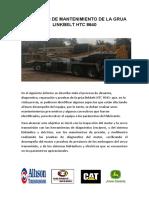 INFORME DE SERVICIO DE LA GRUA LINK BELT