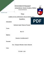Análisis de las atribuciones del Presidente de la República