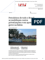 Petroleiros de todo o Brasil se mobilizam contra privatizações e em apoio à greve na Bahia