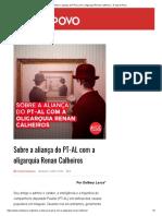 Sobre a aliança do PT-AL com a oligarquia Renan Calheiros – A Voz do Povo