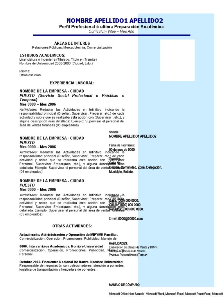 Bonito Curriculum Vitae En Inglés Para Recién Graduado Ilustración ...