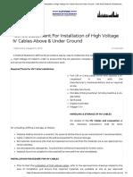 Method Statement For Installation of High Voltage HV Cables Above & Under Ground – Safe Work Method Of Statement