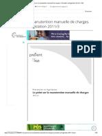 Le point sur la manutention manuelle de charges. Prévention et législation 2011_3 - PDF