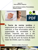 Aula 1 -Direito Aplicado à Negócios - Direito Civil - Teoria Da Norma Jurídica_ Personalidade, Capacidade e Pessoa Juridica Com Exercicios Power Point