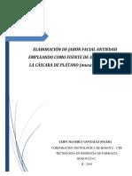Jabon Facial Con Antioxidantes Presentes en La Cascara de Platano