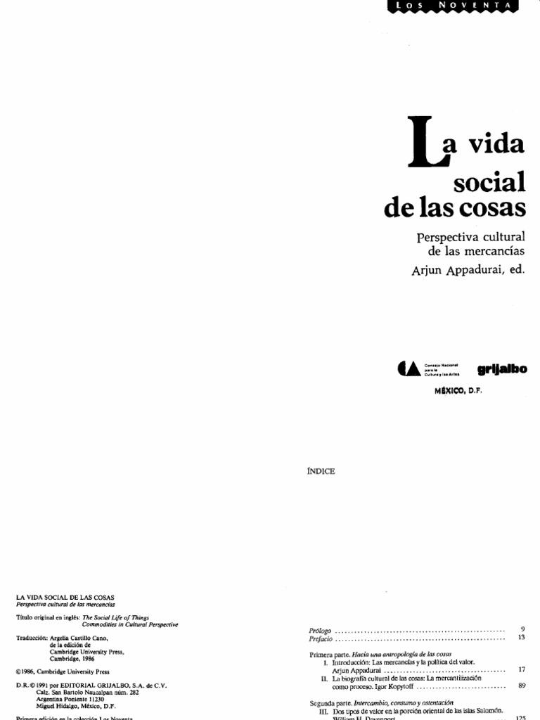 Appadurai Arjun - La Vida Social de Las Cosas