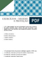 EXERCÍCIOS – HIGIENE E PROTEÇÃO