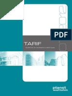 Catalogue Planet-Wattohm - Tarifs, Canalisations Électriques - 2012