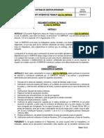REGLAMENTO INTERNO DE TRABAJO INCLUIDO COVID-19