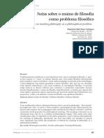 Velasco, P. Notas sobre o ensino de filosofia como problema filosofico