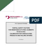 PSF for resistance of steel frames to ec3 ec4