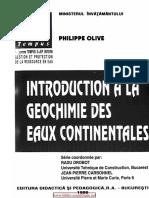 Introduction à la géochimie des eaux continentales - Philippe Olive